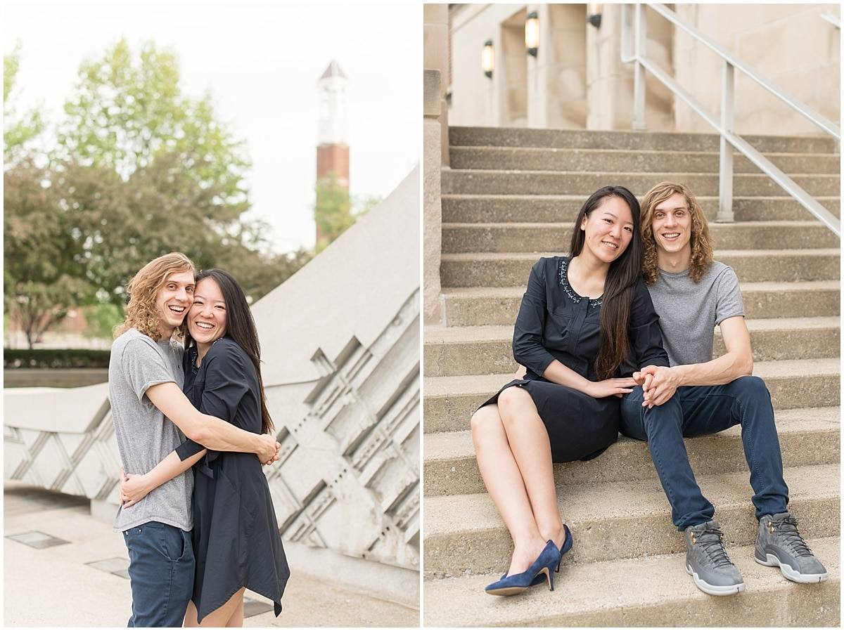 Lafayette, IN wedding photographer Victoria Rayburn took Jordan Dill and Yvonne Shi's engagement photos at Purdue University.