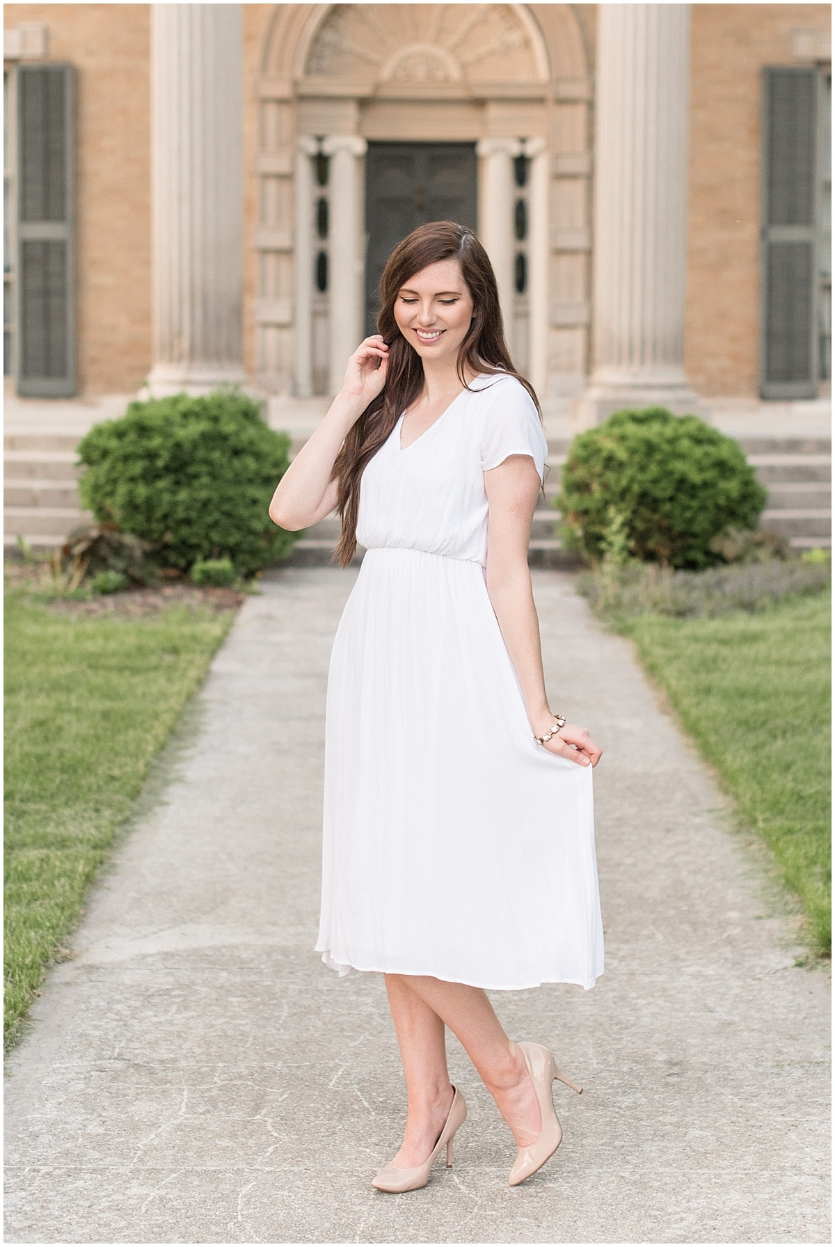 Wondering what to wear to your bridal shower? Flirty brides might try a flowy dress cinched at the waist.