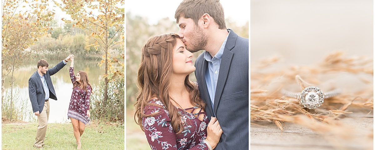 Logan Dexter and Becky Biancardi fall engagement photos at Fairfield Lakes Park in Lafayette Indiana