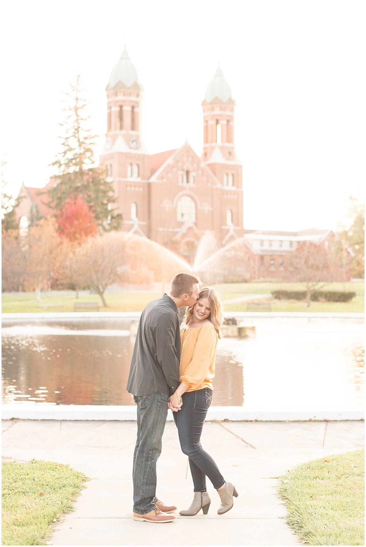 Bruce Anderson and Becky Wisniewski's Engagement Photos at Saint Joseph's College in Rensselaer, Indiana by Victoria Rayburn