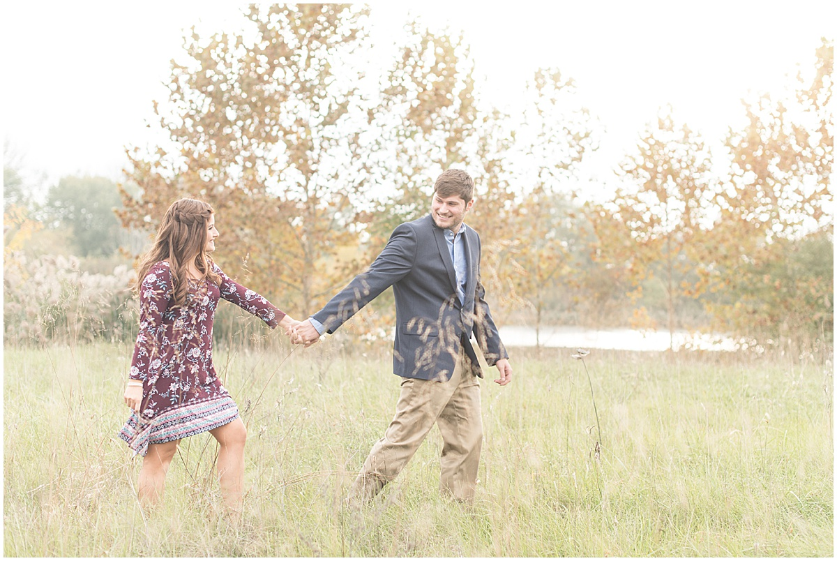 Logan Dexter and Becky Biancardi fall engagement photos at Fairfield Lakes Park in Lafayette Indiana 5.jpg