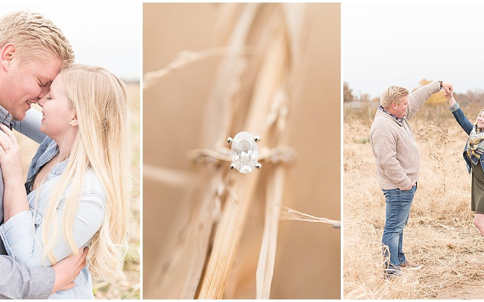 Tyler Van Wanzeele and Baileigh Fleming's engagement photos at Wea Creek Orchard in Lafayette, Indiana by Victoria Rayburn