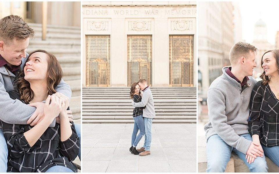 Victoria Rayburn Photography took David Redinbo and Rachel King's Christmas engagement photos in downtown Indianapolis