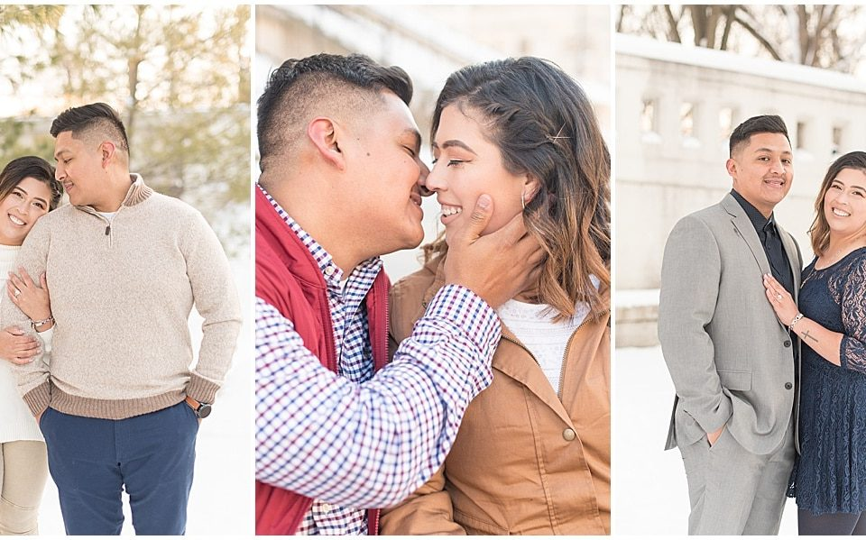 Victoria Rayburn Photography took Jose Cruz and Carolina Tovar's winter engagement photos in downtown Lafayette, Indiana