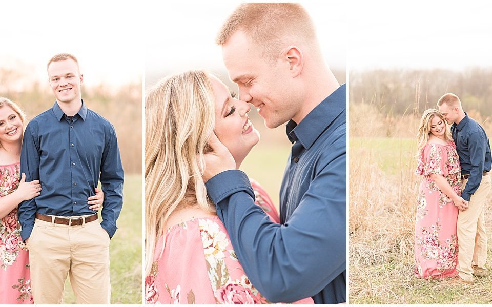 Jordan Wagner and Caitlin Schock's spring engagement photos at Fairfield Lakes Park in Lafayette, Indiana