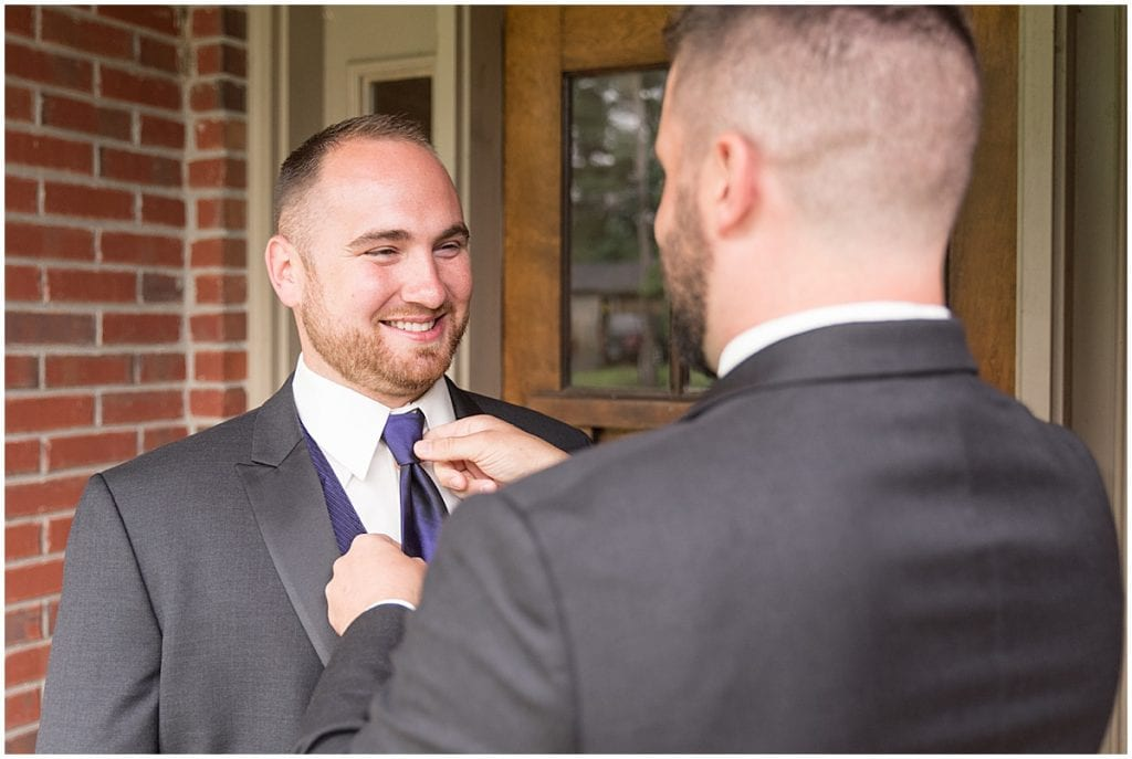 Mayor Shane Evans getting ready for his wedding in Delphi, Indiana