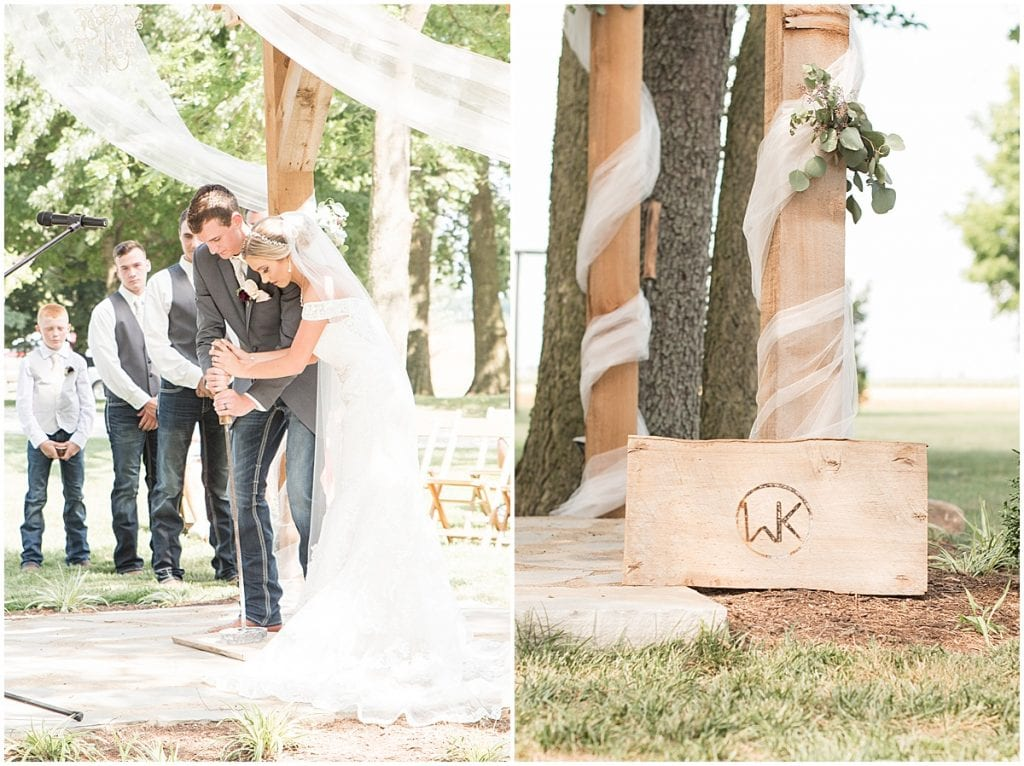 Branding at a summer wedding at Vintage Oaks Banquet Barn in Delphi, Indiana