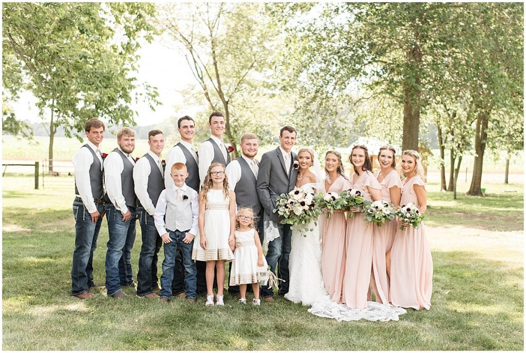 Bridal Party at Summer Wedding at Vintage Oaks Banquet Barn in Lafayette, Indiana