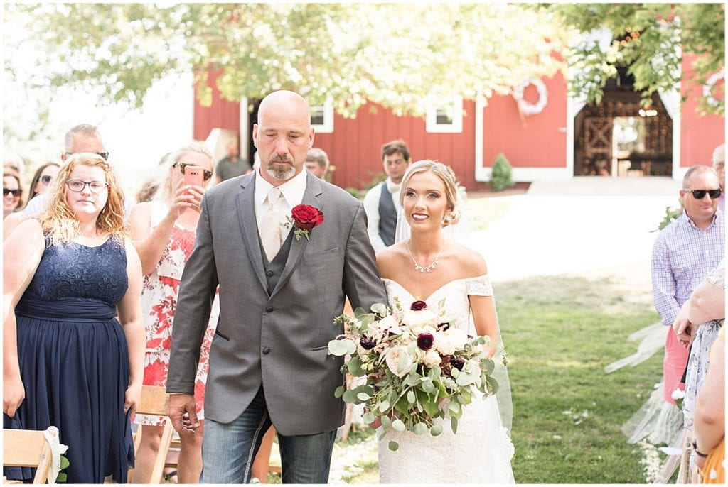 Ceremony at Summer Wedding at Vintage Oaks Banquet Barn in Lafayette, Indiana