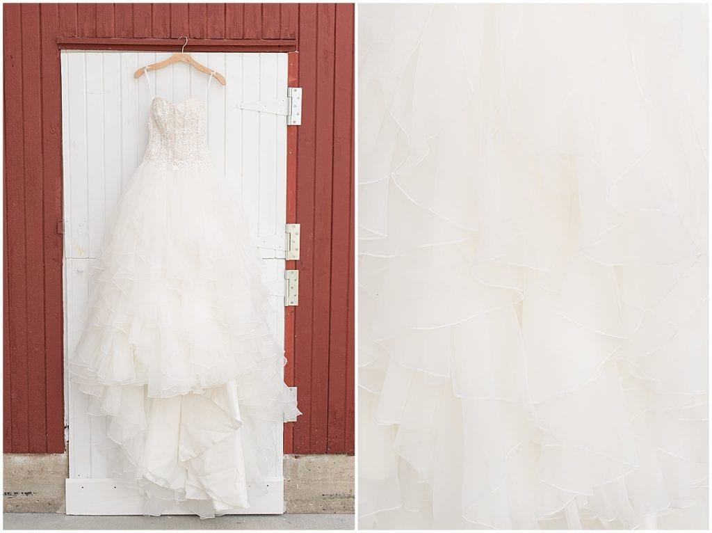 Wedding dress hanging at Exploration Acres