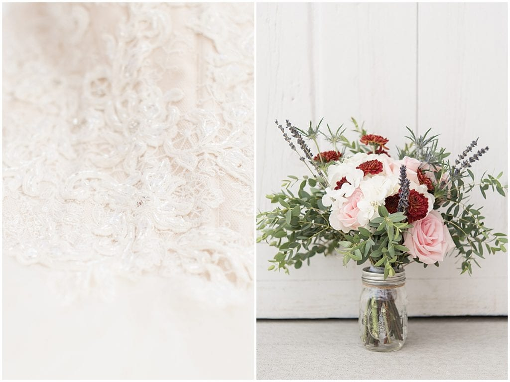 Wedding dress and bouquet at Exploration Acres