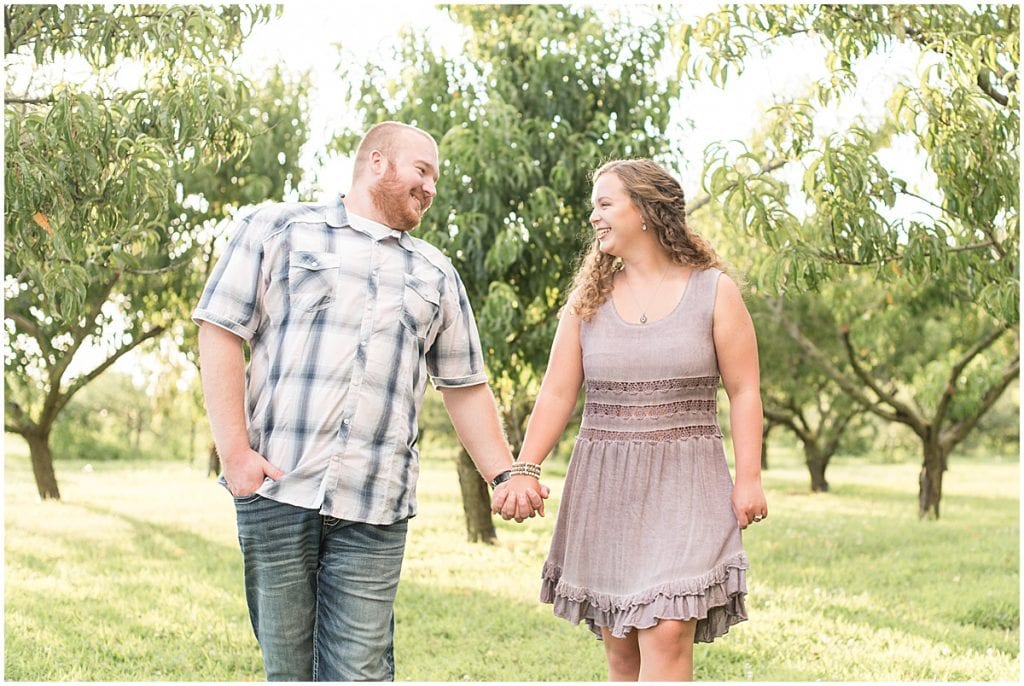 Summer Engagement Photos at Wea Creek Orchard, an apple orchard in Lafayette, Indiana