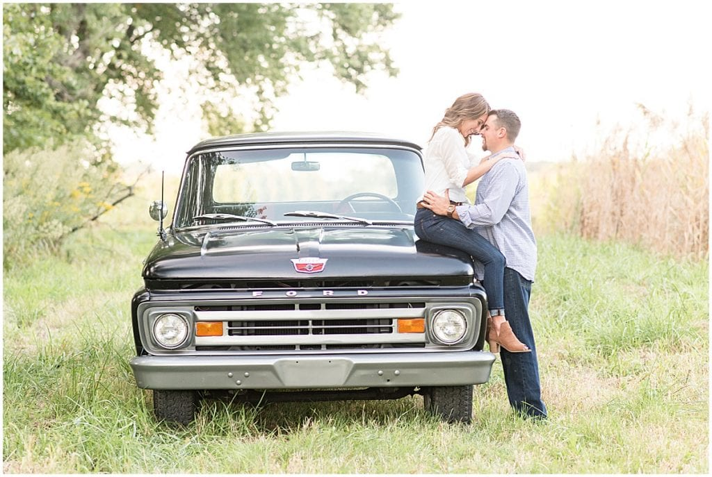Engagement Photos with an Old Ford F-150 in Remington, Indiana