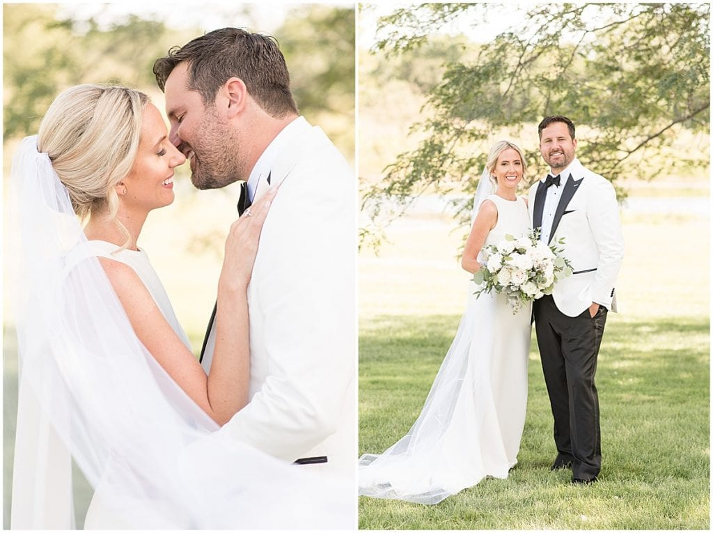 First look at an outdoor wedding with greenery in Rochester, Indiana