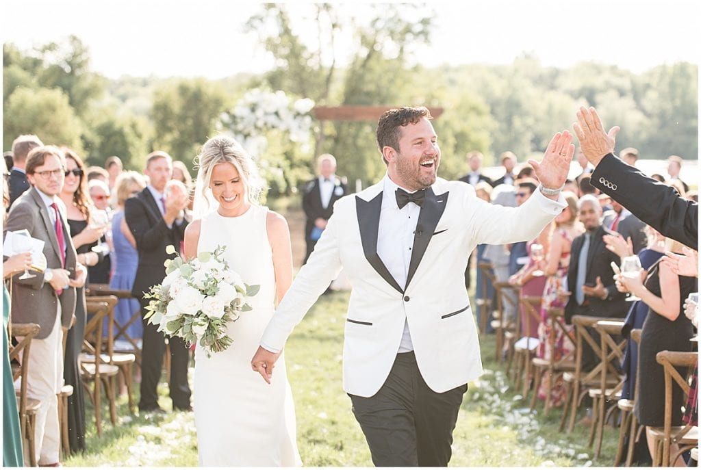 Outdoor wedding with greenery in Rochester, Indiana