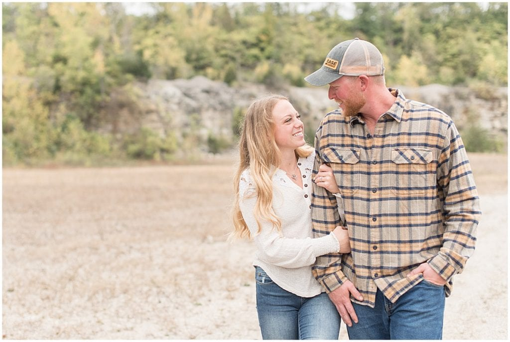 Engagement photos in Logansport, Indiana at a quarry