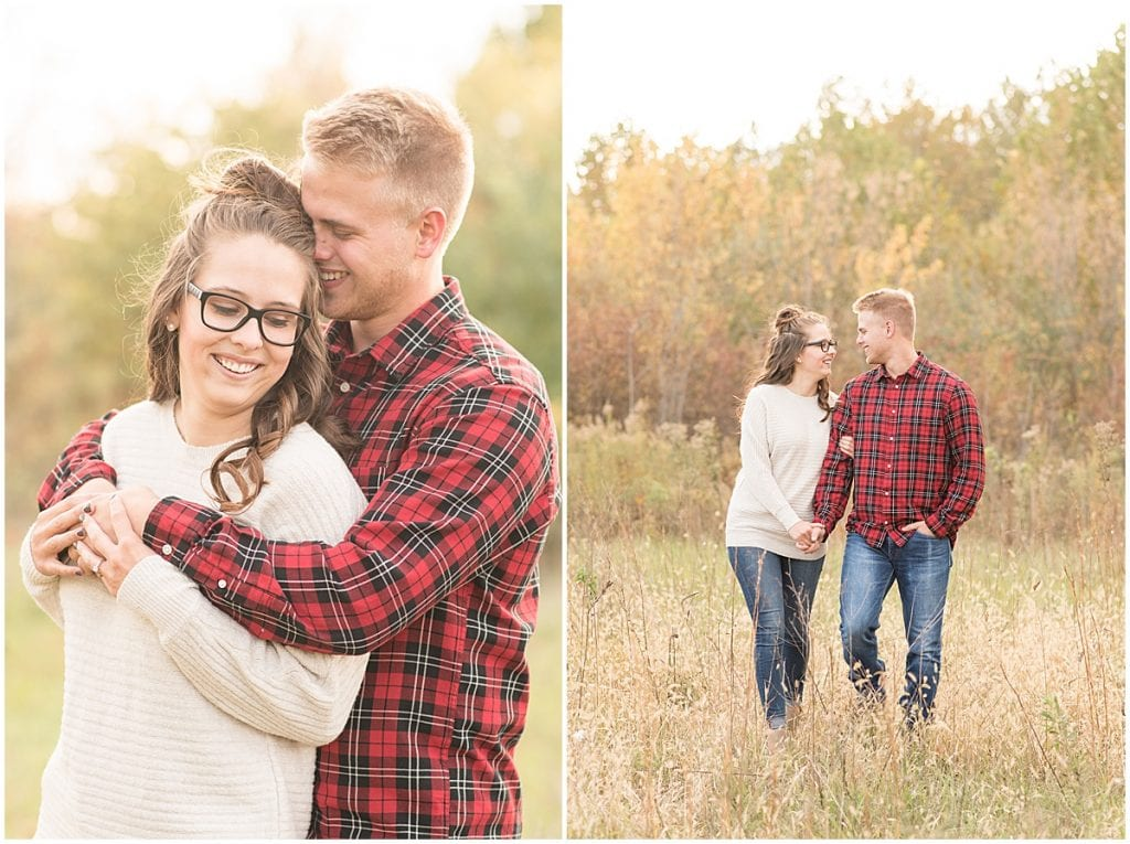 Fall Engagement Photos at Fairfield Lakes Park in Lafayette, Indiana