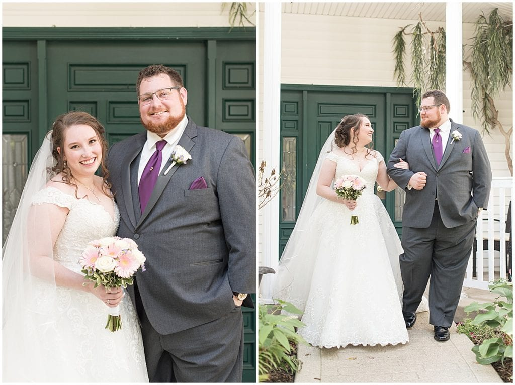 Bride and groom first look outside of Aberdeen Inn in Valparaiso, Indiana
