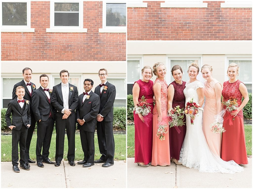 Bridal party at a wedding in downtown Lafayette, Indiana