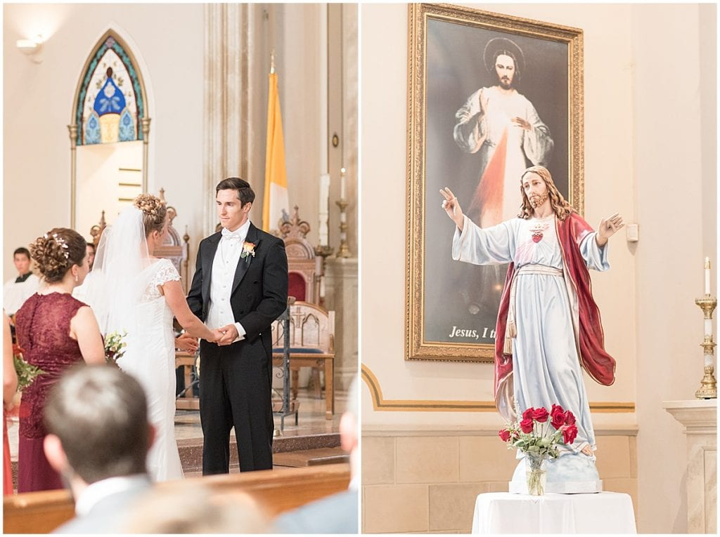 Wedding ceremony at Saint Boniface Catholic Church in Lafayette, Indiana