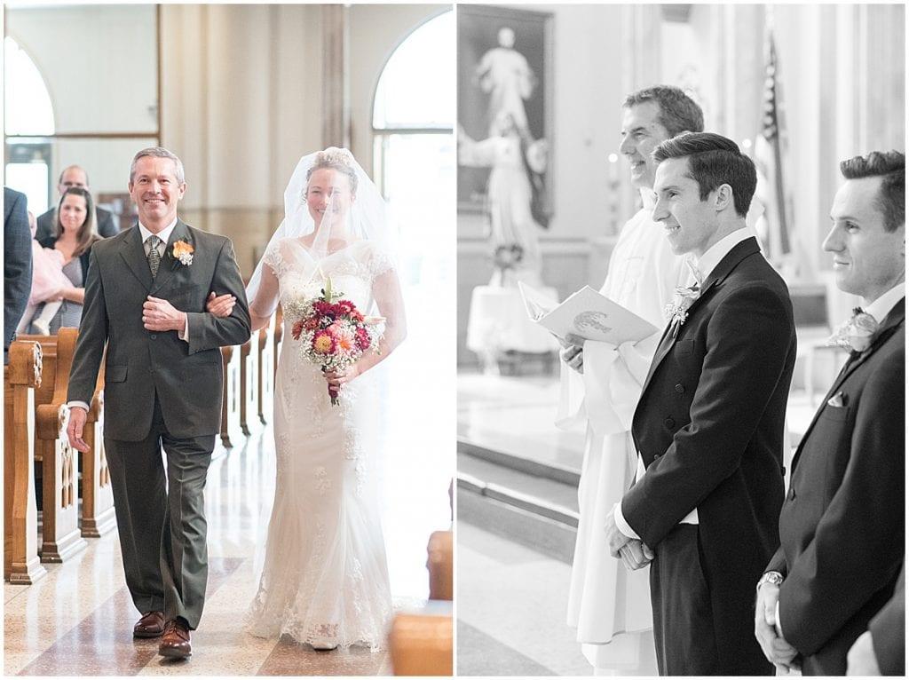 Wedding ceremony at Saint Boniface Catholic Church in Lafayette, Indiana