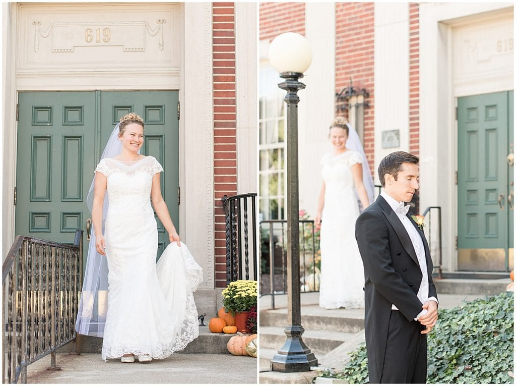 Bride and groom first look at a wedding at Duncan Hall in Lafayette, Indiana