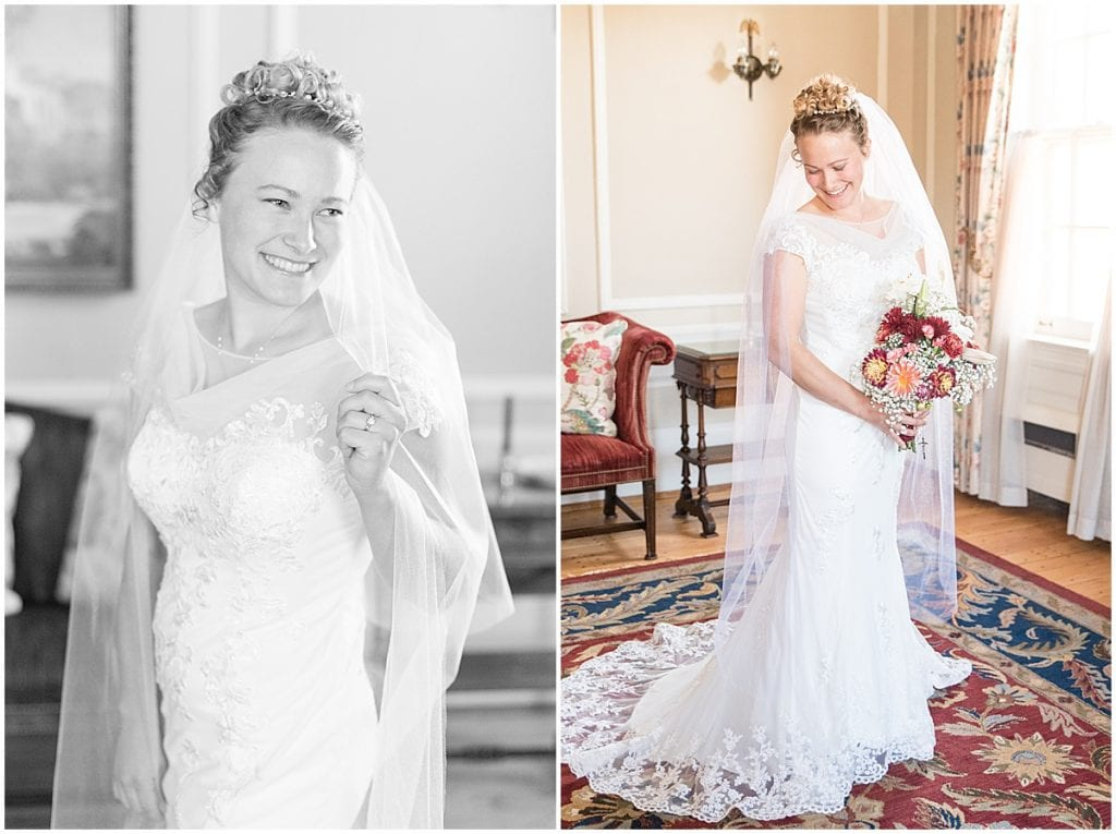 Bride getting ready for wedding at Duncan Hall in Lafayette, Indiana