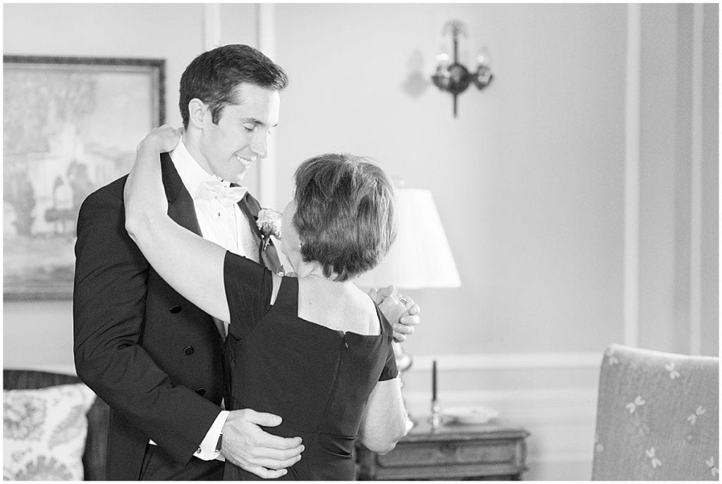 Groom getting ready for wedding at Duncan Hall in Lafayette, Indiana
