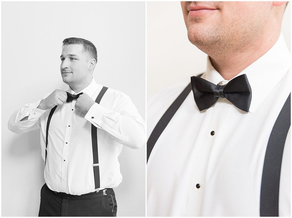 Groom getting ready for wedding in Demotte, Indiana