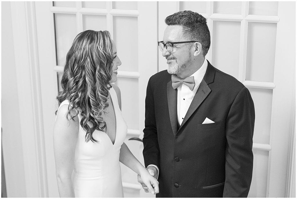 First look with dad at a wedding in Demotte, Indiana