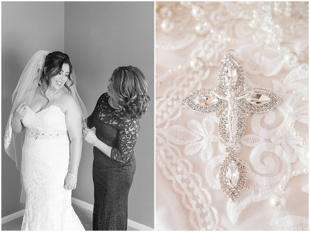 Bride getting ready for wedding in Frankfort, Indiana