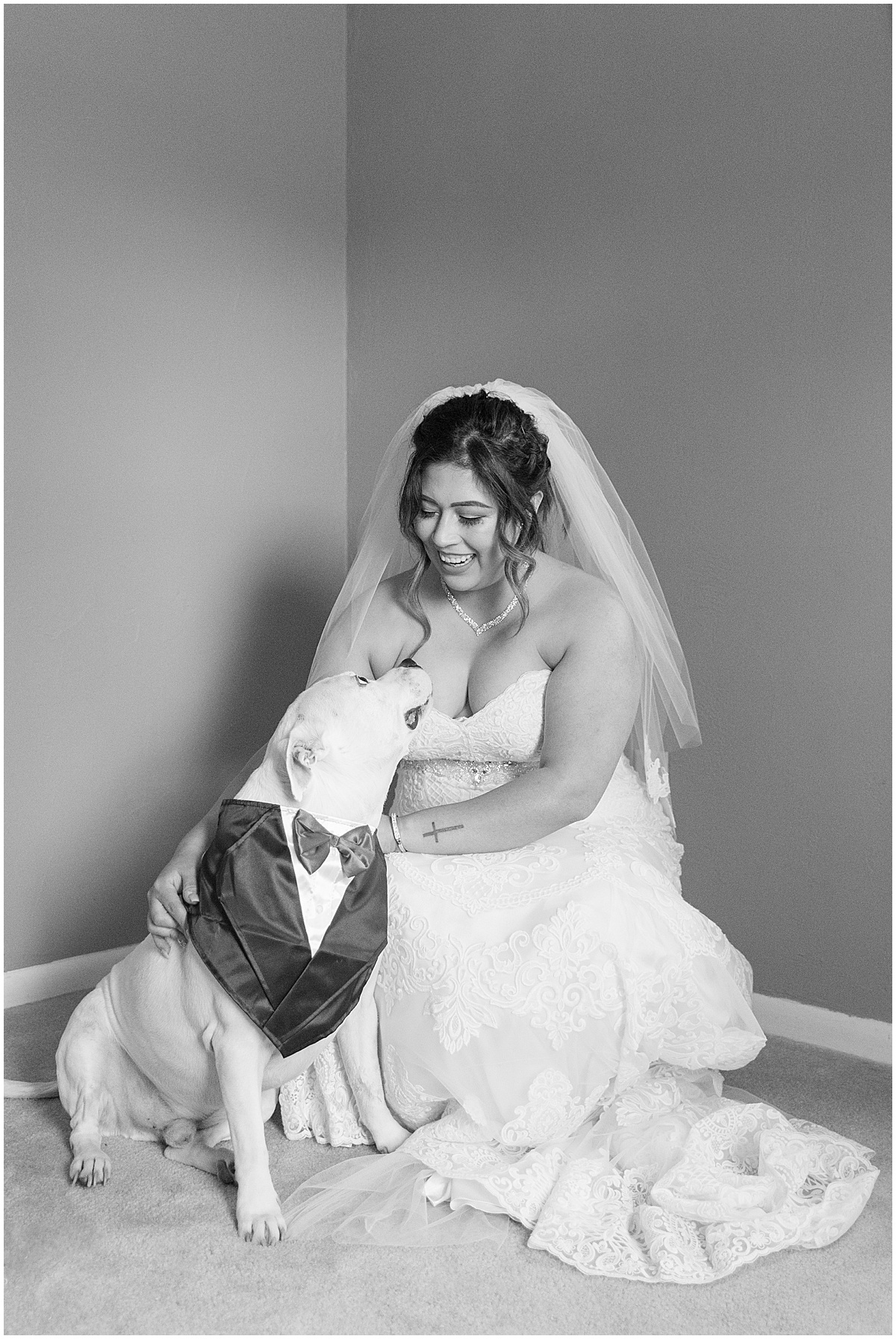 Bride with dog on wedding day in Frankfort, Indiana