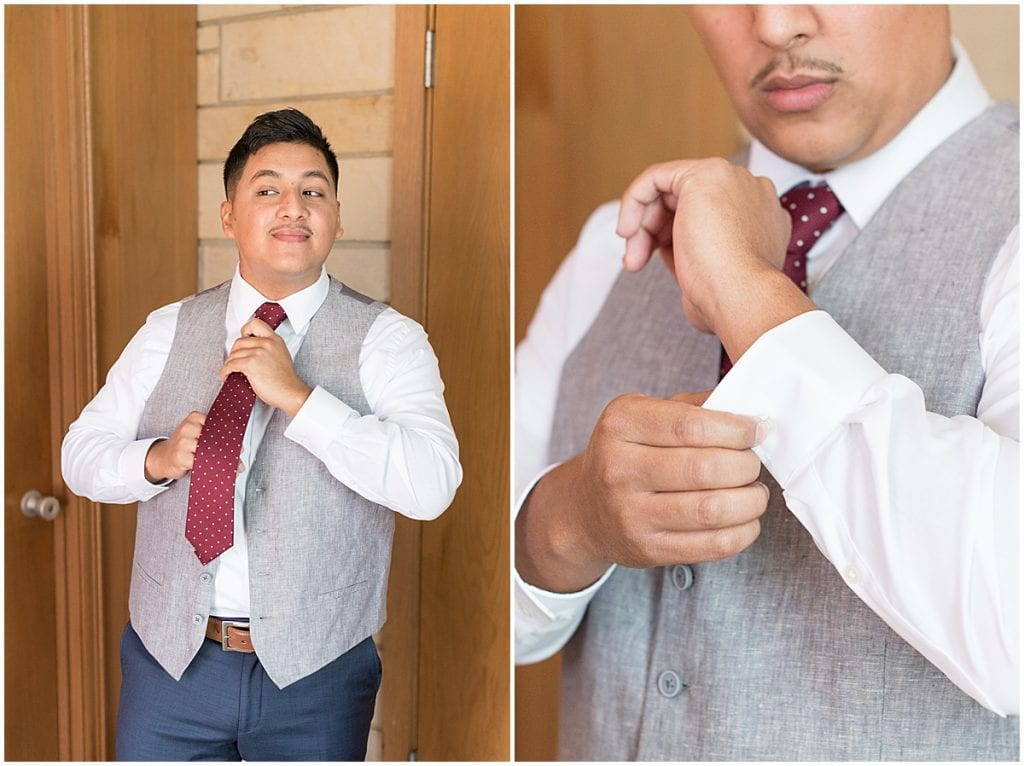 Groom getting ready for wedding at St. Mary's Catholic Church in Frankfort, Indiana