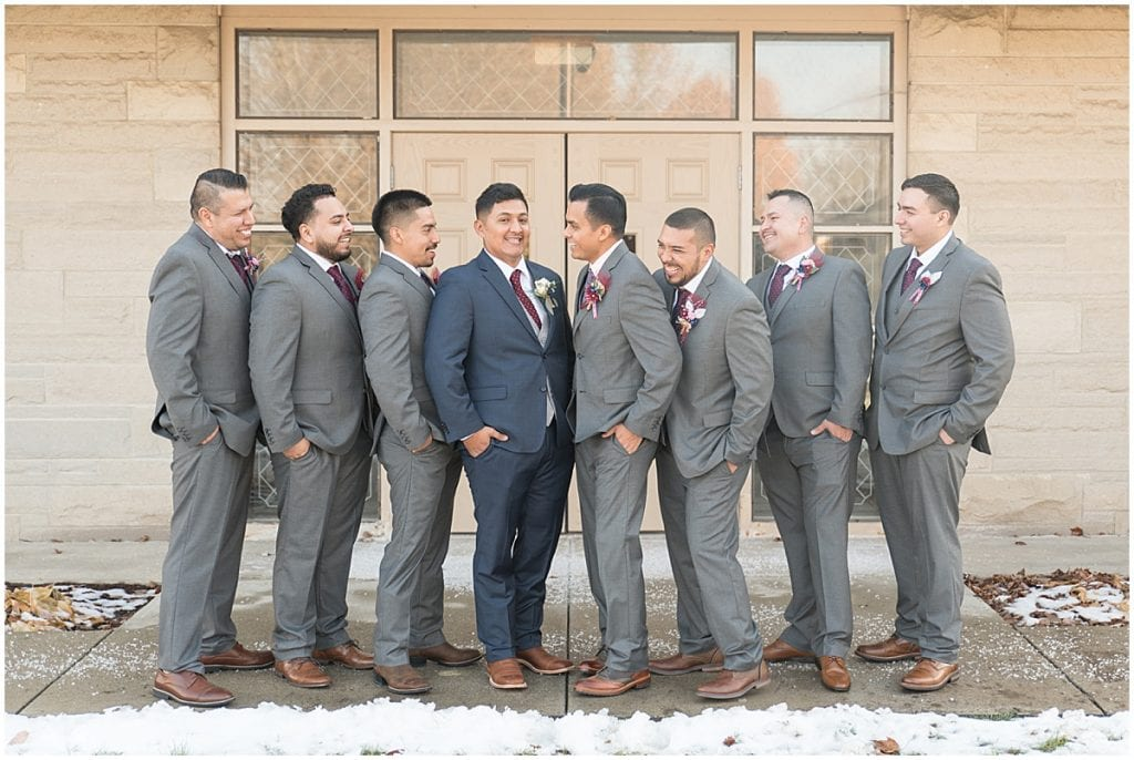 Bridal party for wedding at St. Mary's Catholic Church in Frankfort, Indiana