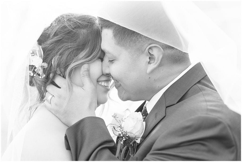Bride and groom at wedding at St. Mary's Catholic Church in Frankfort, Indiana