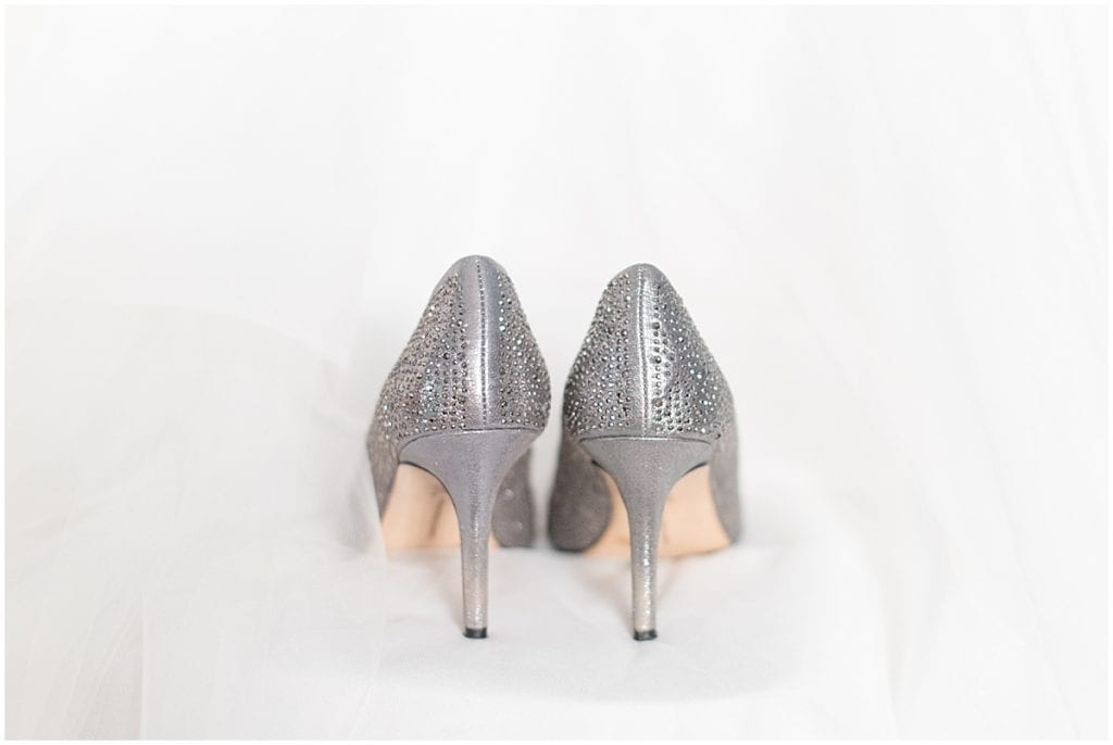 Bride's shoes at Trinity United Methodist Church in Lafayette, Indiana
