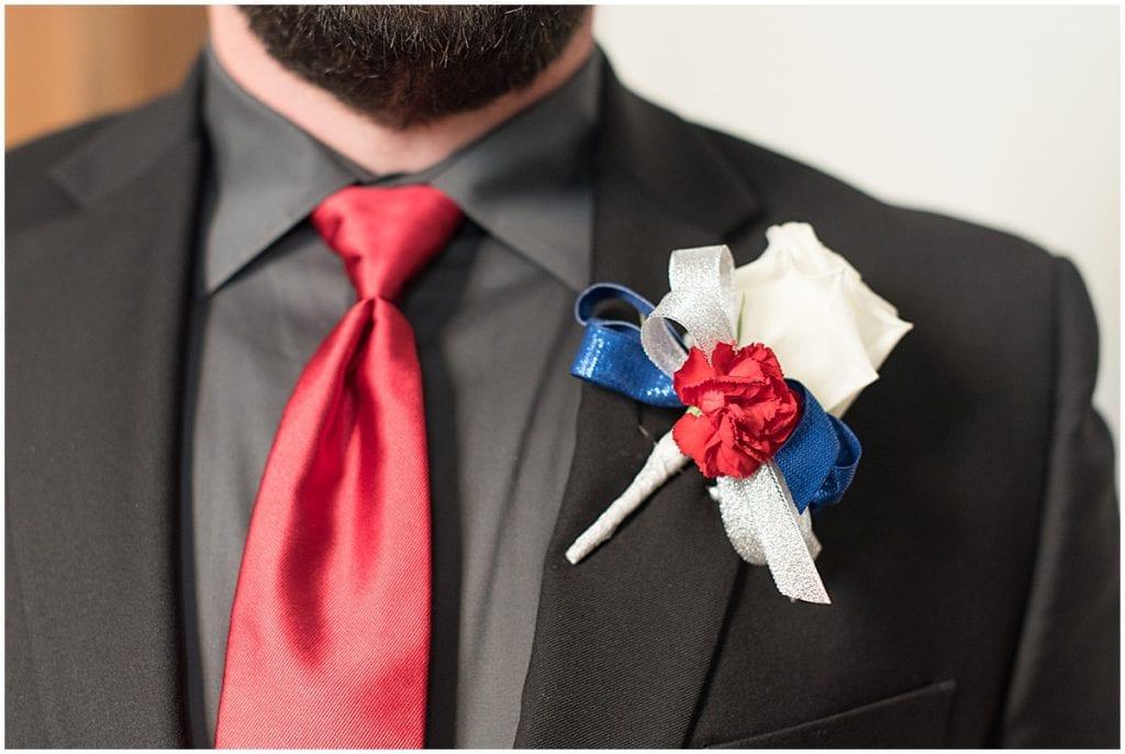 Groom getting ready for wedding at Trinity United Methodist Church in Lafayette, Indiana