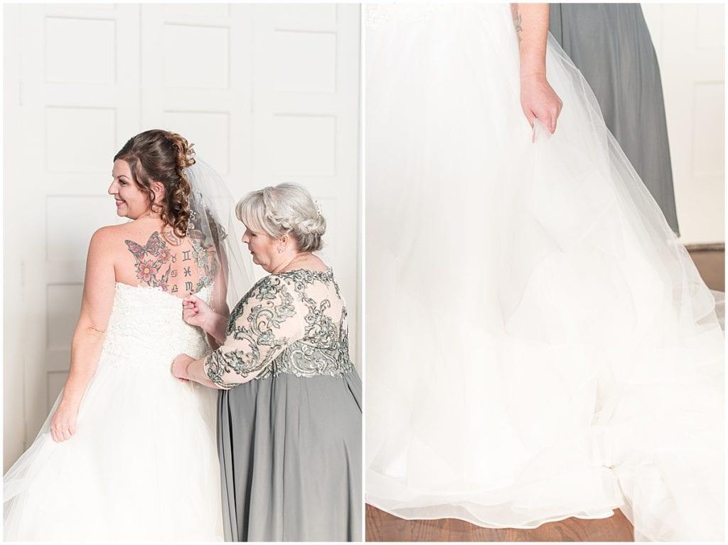 Bride getting ready for wedding at Trinity United Methodist Church in Lafayette, Indiana