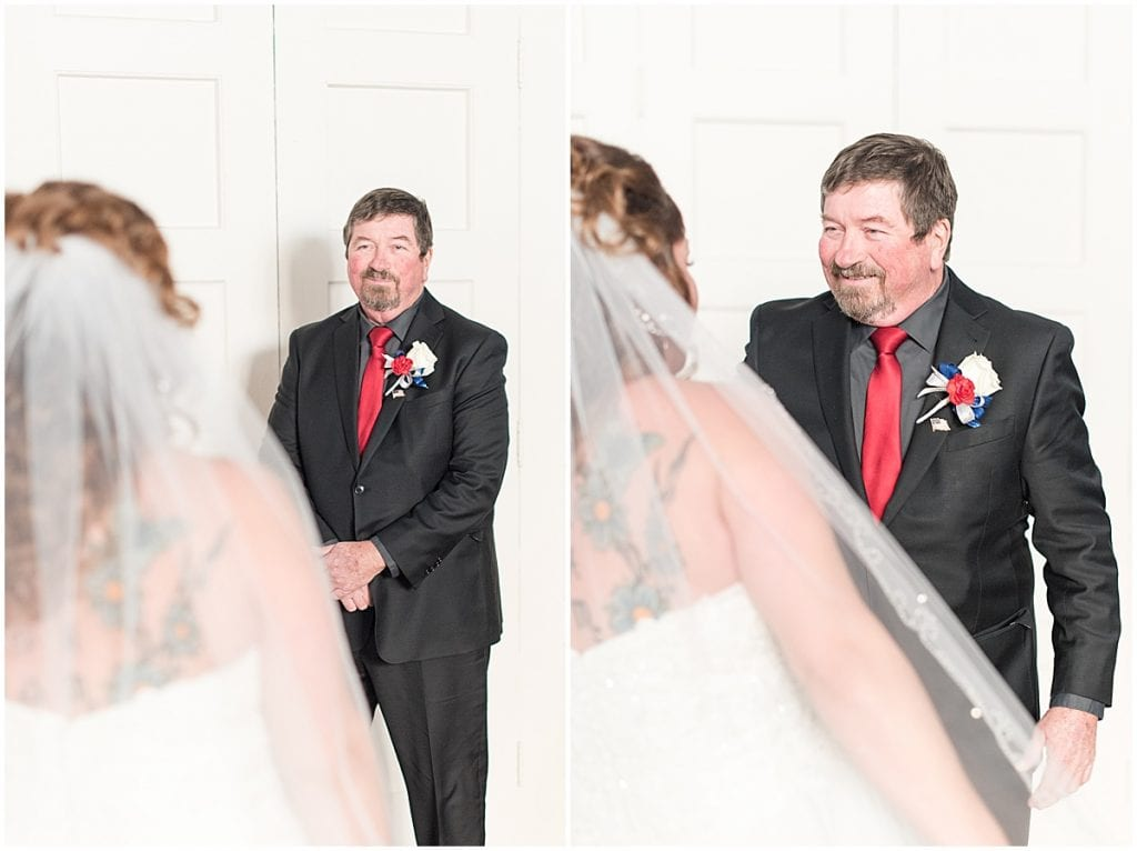 Bride's first look with her father at Trinity United Methodist Church in Lafayette, Indiana