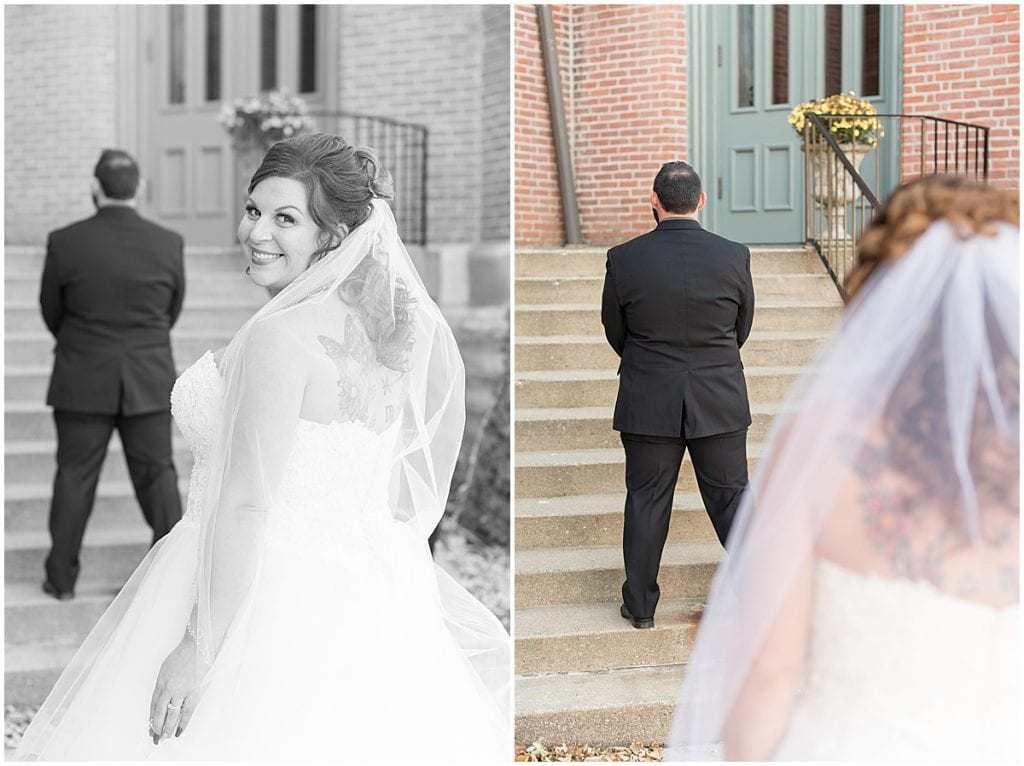 Bride and groom's first look before wedding at Trinity United Methodist Church in Lafayette, Indiana