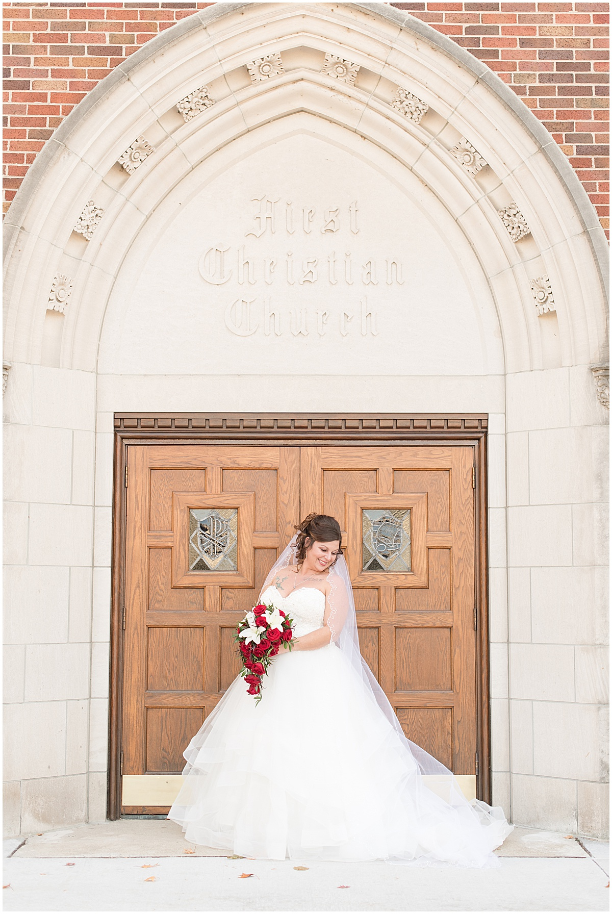 Bride before wedding at Trinity United Methodist Church in Lafayette, Indiana