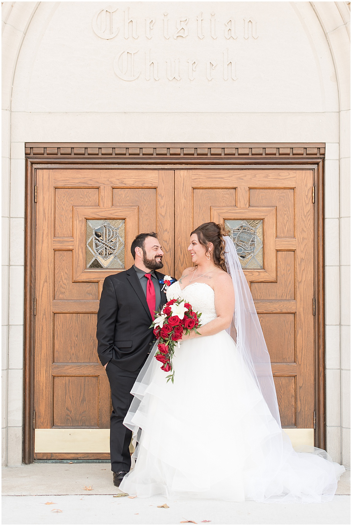 Bride and groom before wedding at Trinity United Methodist Church in Lafayette, Indiana