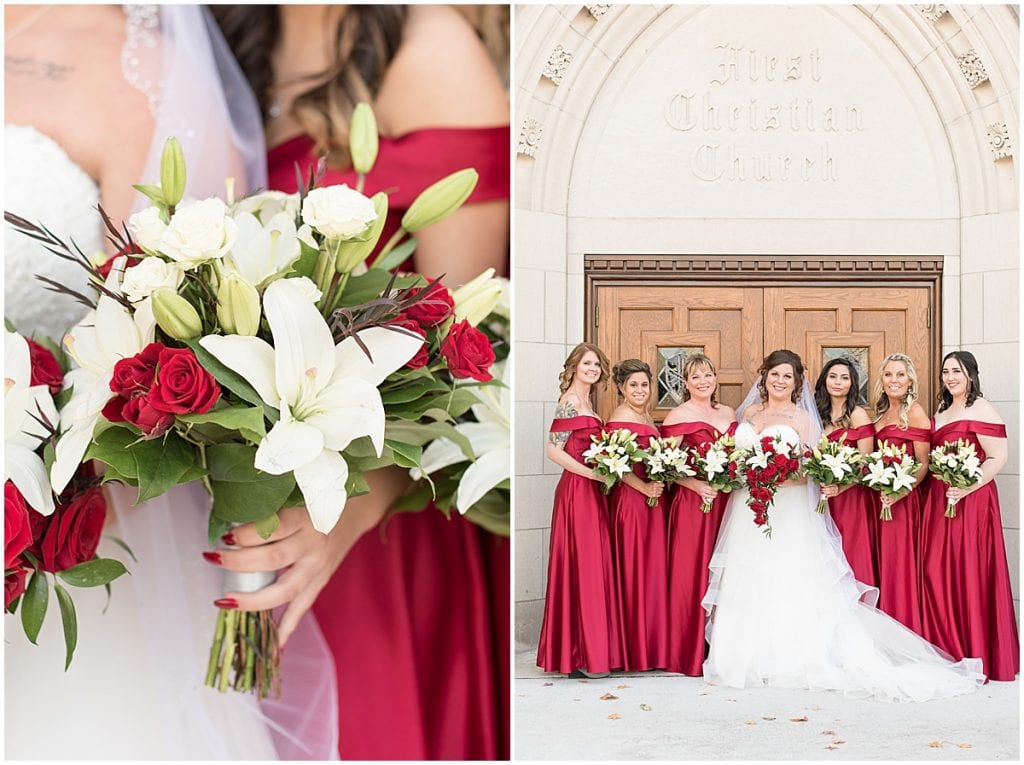Bride and bridesmaids before wedding at Trinity United Methodist Church in Lafayette, Indiana