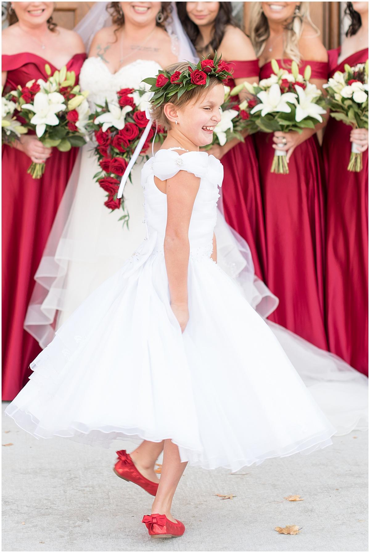Flower girl before wedding at Trinity United Methodist Church in Lafayette, Indiana