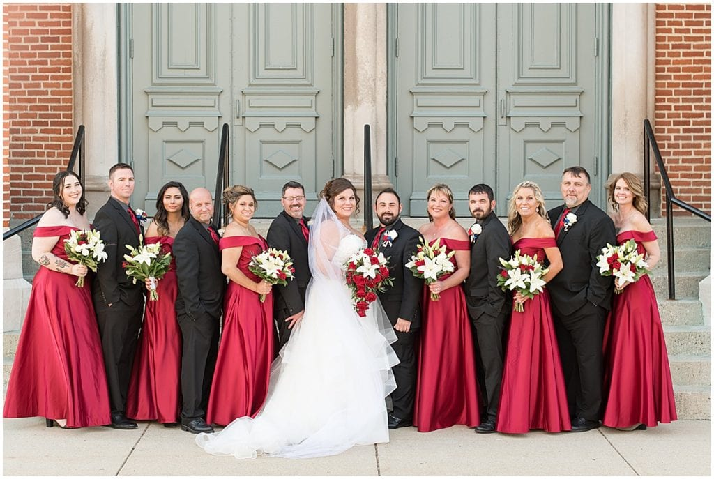 Bridal party at wedding at Trinity United Methodist Church in Lafayette, Indiana