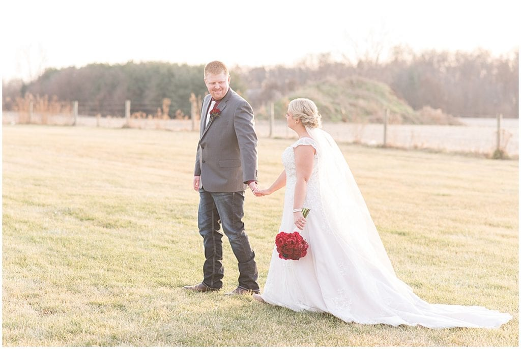 Bride and groom sunset photos at Jasper County Fairgrounds in Rensselaer, Indiana