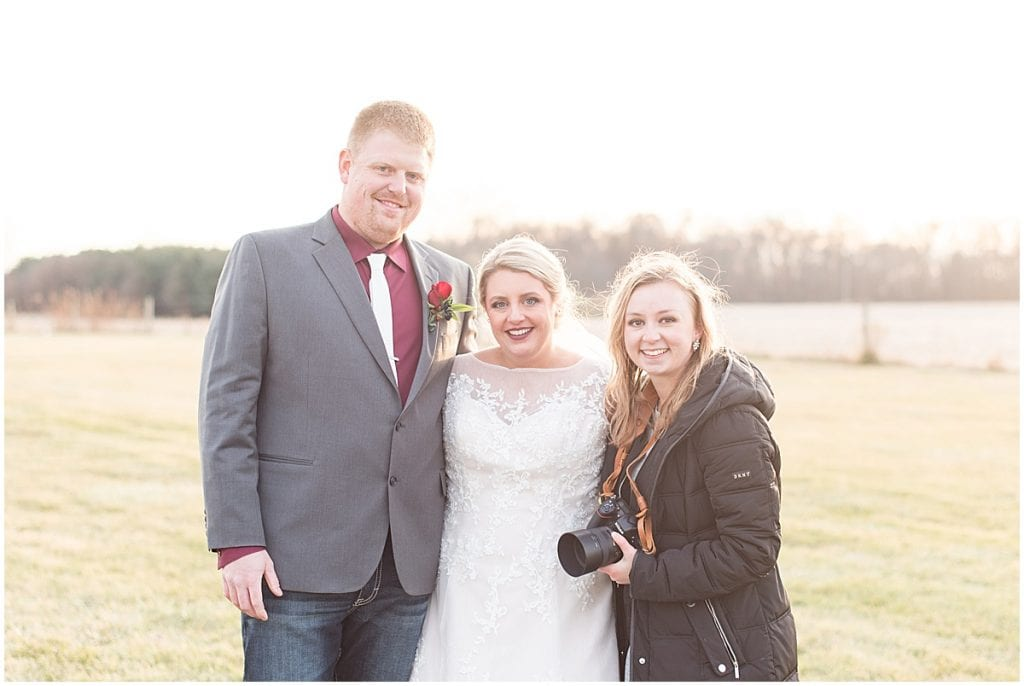 Victoria Rayburn with bride and groom in Rensselaer, Indiana