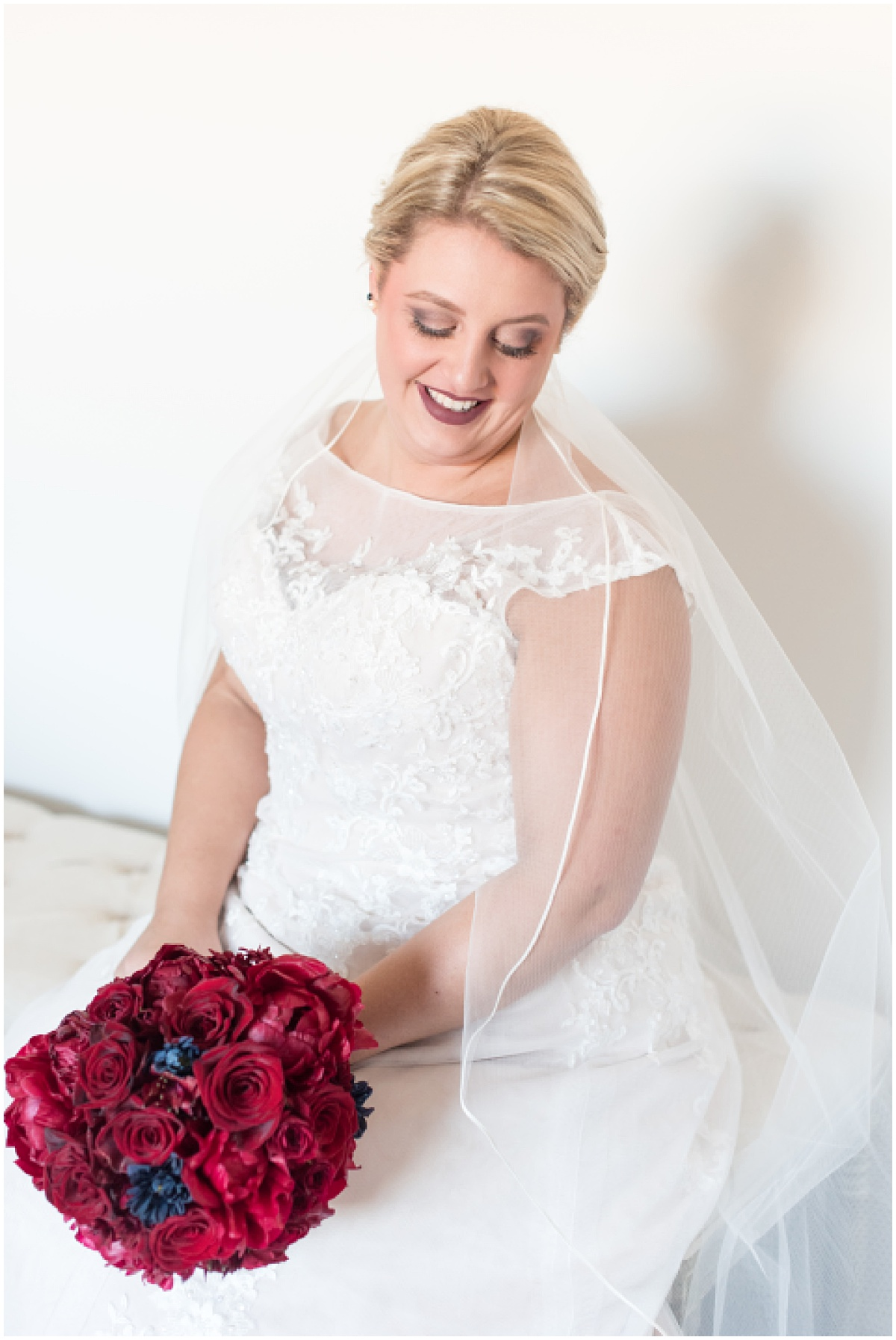 Bride getting ready for wedding at Sacred Heart Catholic Church in Fowler, Indiana