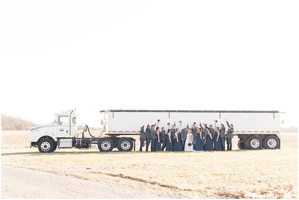 Bridal party with semi in Otterbein, Indiana