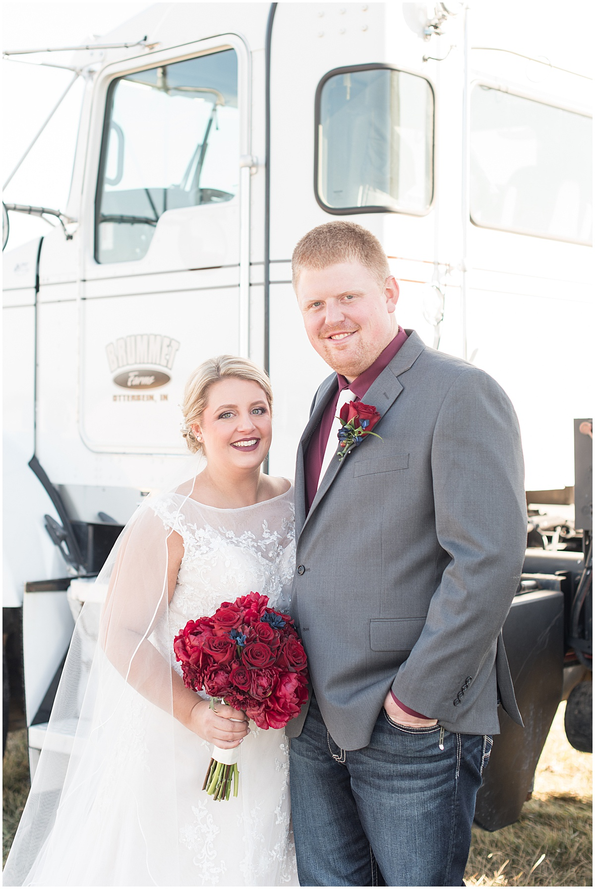 Bride and groom with Brummet Farms semi in Otterbein, Indiana